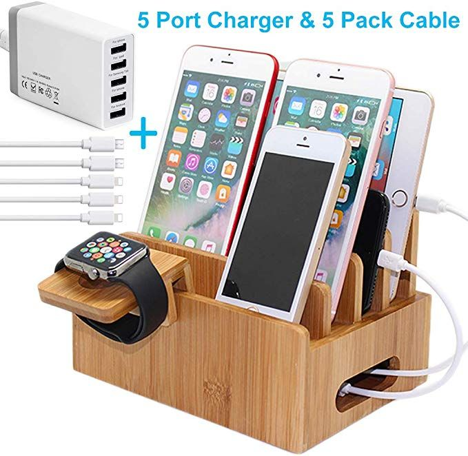 Bamboo Charging Station For Multiple Devices With 5 Port Usb Charger 5 Charger Cables And Watch Stan Usb Chargers Wood Docking Station Phone Charging Stations