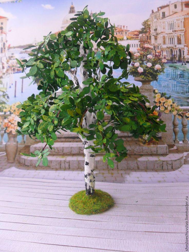 Купить Березка. кукольная миниатюра. - комбинированный, береза, дерево, кукольная миниатюра, кукольный дом, полисадник