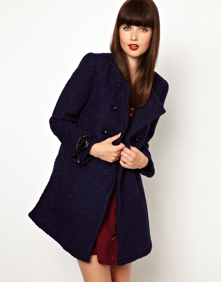 $118, Navy Boucle Coat: Double Breasted Coat In Boucle by Nishe. Sold by Asos. Click for more info: http://lookastic.com/women/shop_items/94181/redirect