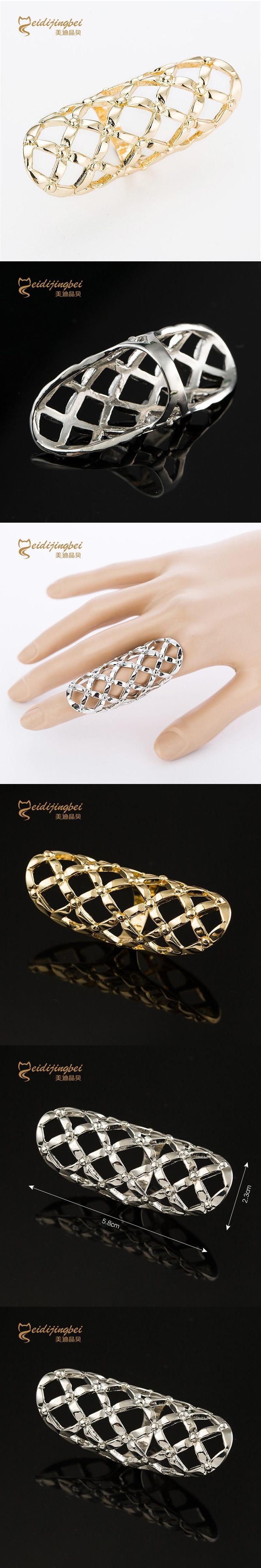 Long full finger rings for women gold/silver color hollow out female ring zinc alloy fashion jewelry anel feminino MDJB019