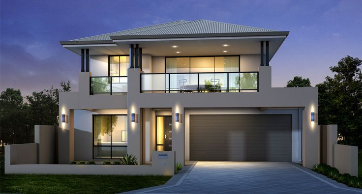 Contemporary double storey home design idea with for Double story house design