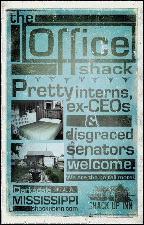 Shack Up Inn.  The Office Shack.  Clarksdale, Mississippi.  Maris, West & Baker Advertising.    http://www.facebook.com/MarisWestBaker    https://twitter.com/#!/MarisWestBakerThe Office, Offices Shack, Tags Shack