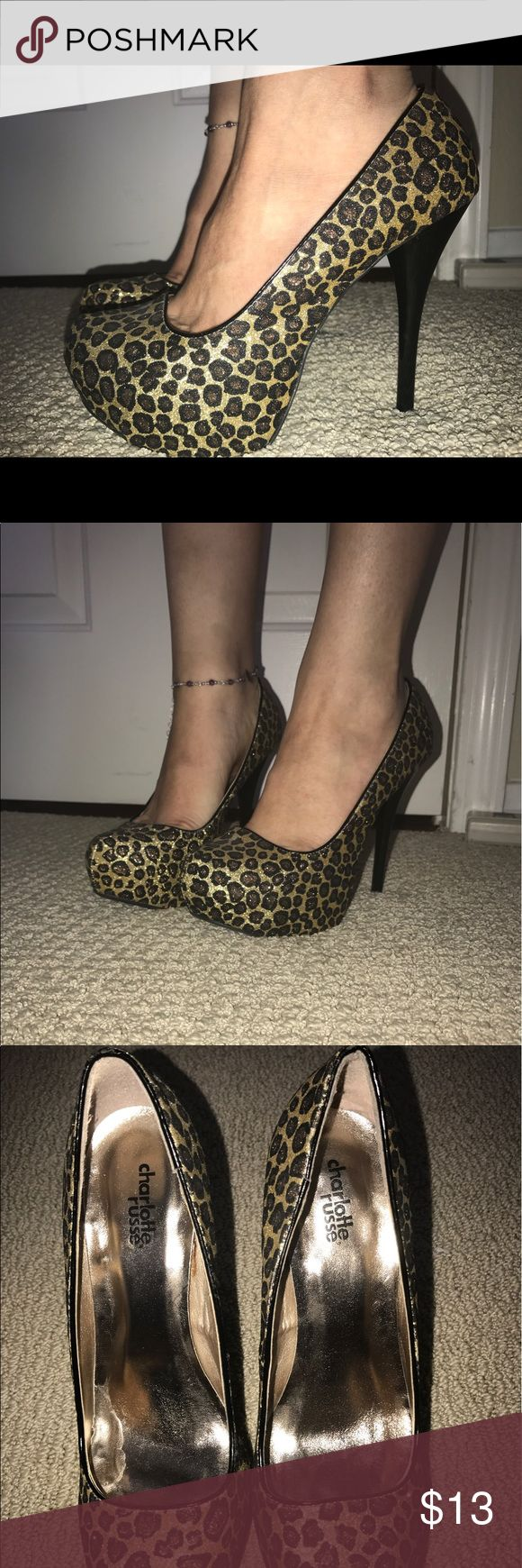 Sparkly Cheetah Heels Sparkly 5 inch cheetah heels! Worn once for homecoming dance way back when. Charlotte Russe Shoes Heels