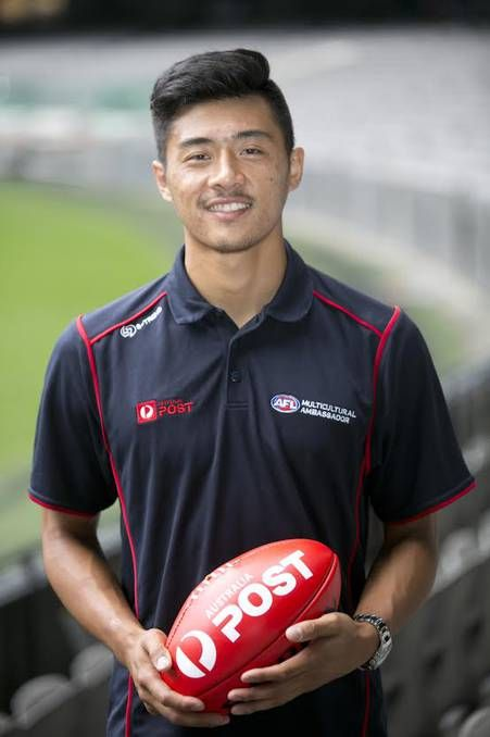 No stranger: Western Bulldogs footballer Lin Jong and his teammates are coming to Ballarat for a two-day camp. #AFL #communitycamp