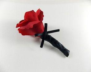Lapela com Flor / Rosa Vermelha. Perfeito para Noivos e Padrinho!