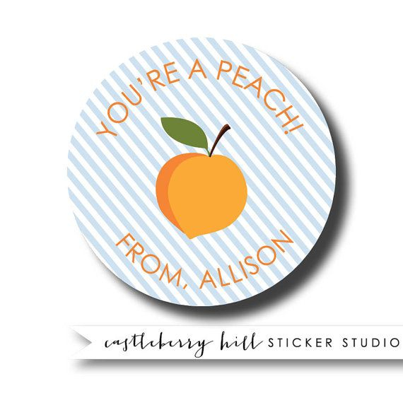 Personalized gift sticker thank you sticker kids gift labels peach personalized kids gift