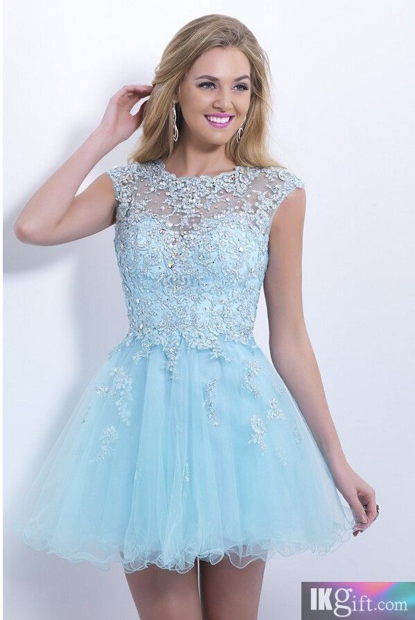 Gorgeous Empire Scoop Tulle and Beading with lace Applique Blue Homecoming Dresses