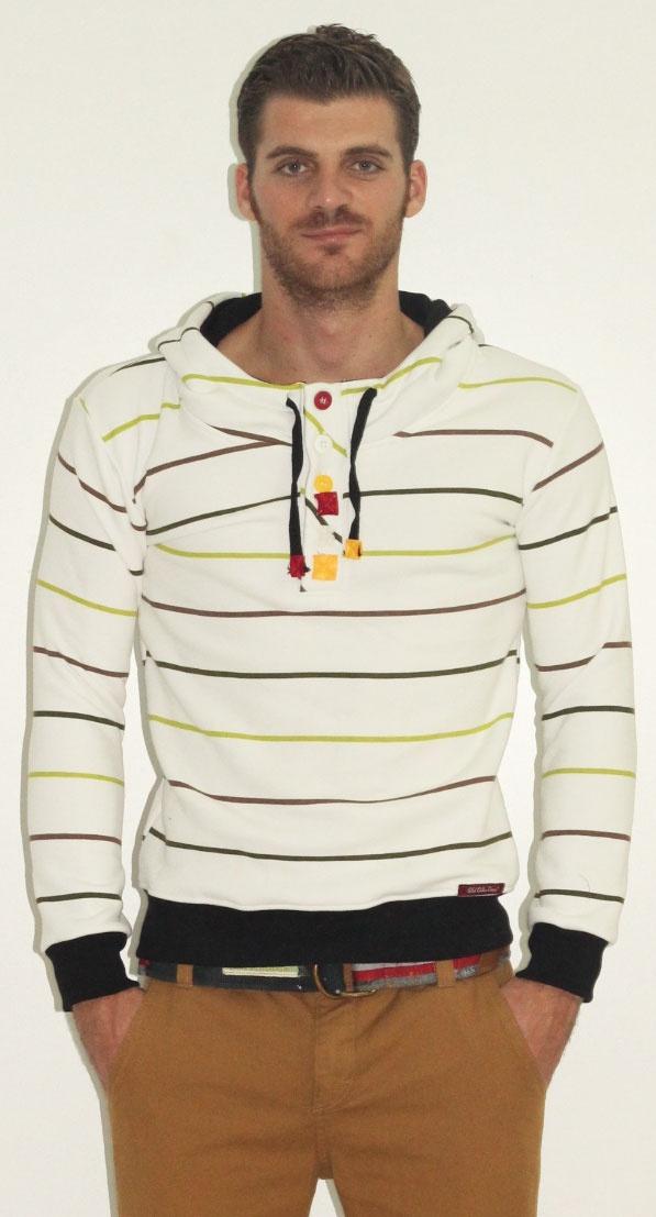 Men Stripe Hoodie Sweatshirt by Old Cotton Cargo - Erkek Çizgili Kapüşonlu Sweatshirt by Old Cotton Cargo