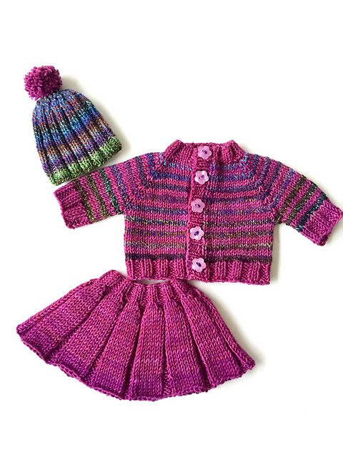 The Huckleberry Friend PDF is free and contains the pattern for the hat, cardigan, and pleated skirt. The entire ensemble is knit on two needles, but I've included directions to knit the hat and skirt in the round if you prefer. The sweater is knit top down, and can be knit with stripes or in a solid color. You can knit all three pieces with one skein of Rowan Pure Wool Worsted plus small amounts of four contrasting colors for the stripes. I think it would be fun to make this in school…