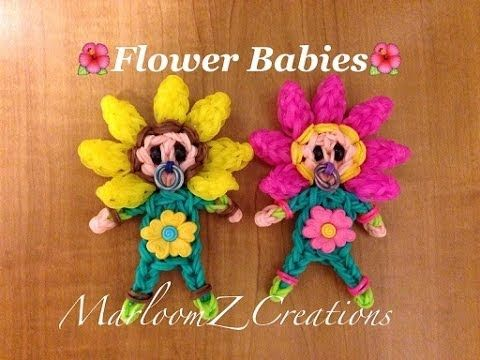 Rainbow Loom FLOWER BABY figure. Designed and loomed by MarloomZ Creations. Click photo for YouTube tutorial. 05/03/14.