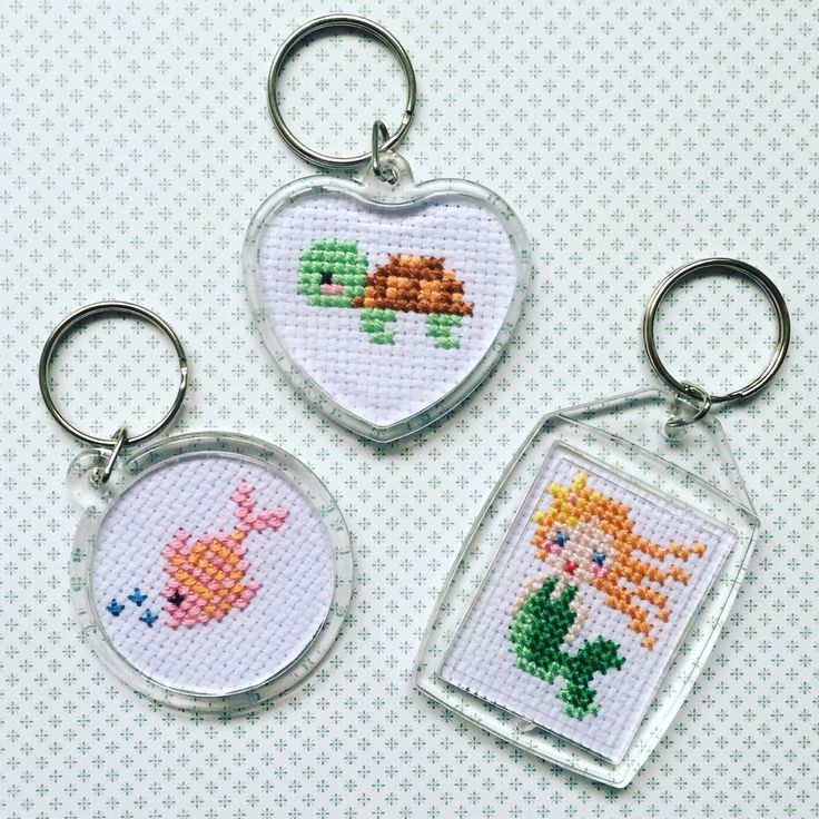 Cross Stitch Keychains #tutorial