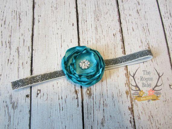 Teal Satin Flower petite headband on silver glitter elastic. Perfect for Newborn / Preemie  by TheRogueBaby, $6.95  #newborn #photo #shoot #flower #girl