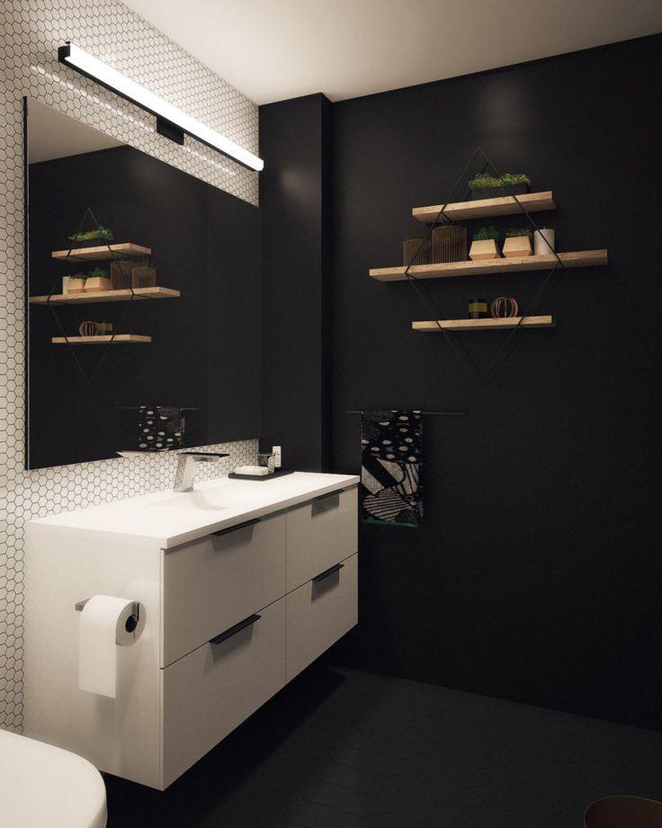 #blackbathroom #bathroom | Basic Bathroom Gets a Graphic, Modern Renovation - Design Milk