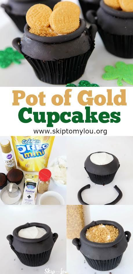 How to make pot of gold cupcakes! An easy step by step recipe perfect for St. Patrick's Day, a party, or kid's activity. #cupcakes #rainbow #recipes