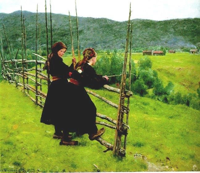 Erik Theodor Werenskiold (1855-1938 Norwegian) Two Girls at the Pasture Fence 1883