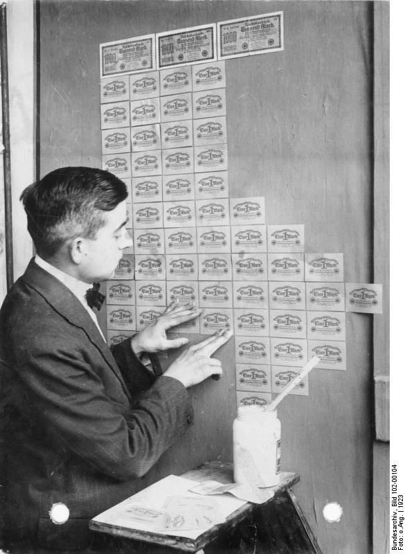 Germany, 1923: banknotes had lost so much value that they were used as wallpaper.: