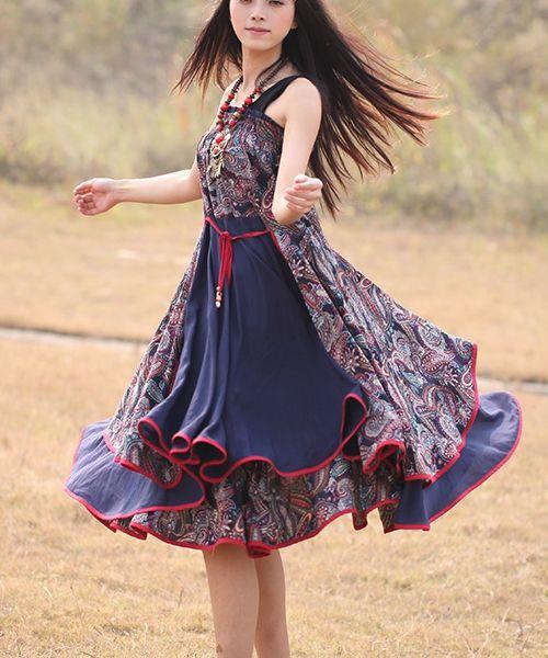 Ethnic Multi-layer Long Skirt Strapless Dress