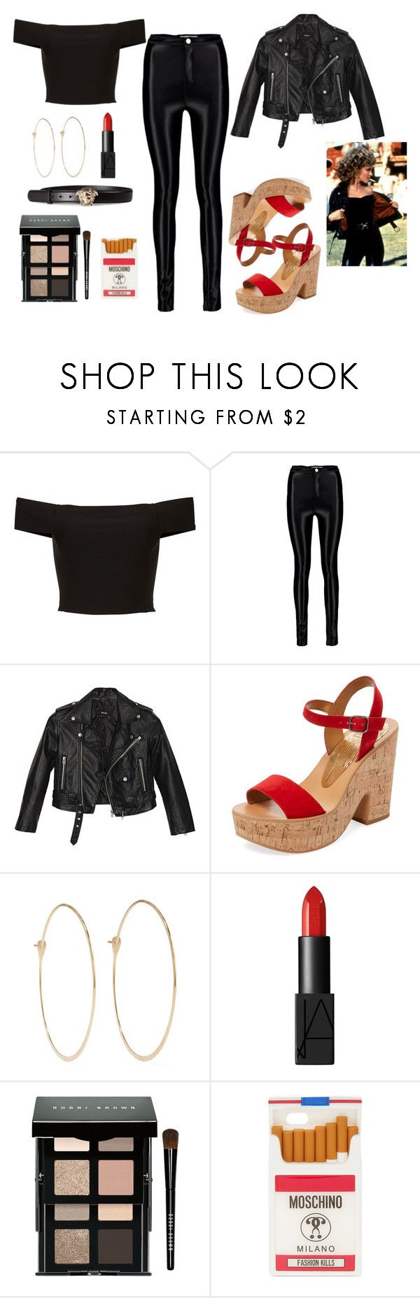 """""""Sandy from 'Grease' costume"""" by one-direction-outfits-of-the-day ❤ liked on Polyvore featuring Nasty Gal, Dolce Vita, Melissa Joy Manning, NARS Cosmetics, Bobbi Brown Cosmetics, Moschino and Versace"""