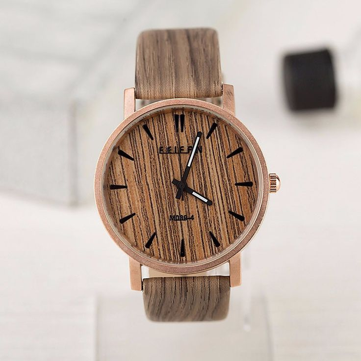 Retro Wood Quartz Watch With Vintage Leather Watch for Men and Women