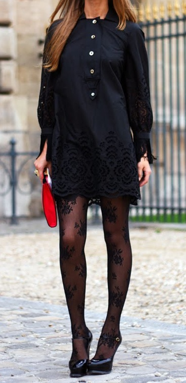 Lace dress + Printed tights