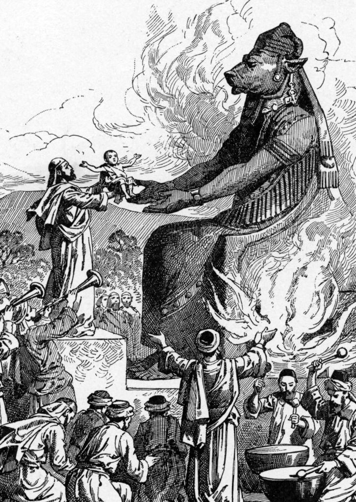 Molech worshipe.  The god of Ammon, with its gruesome child sacrifices. - This is where the idea of Hellfire comes from, NOT from God, Jehovah. It was a practice in the pagan nations to sacrifice living babies or even virgins to their false gods, and drums would drown out the screams of the victims.