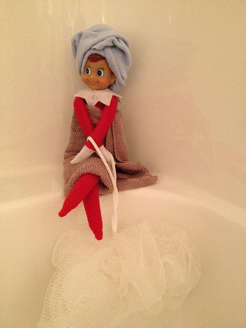Spa Day Elf on the Shelf. Click for more ideas! #elfontheshelf