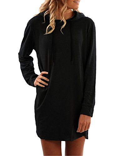 45eee598d1c SUNNYME Women s Long Sleeve Sweatshirt Dresses Hoodies Oversized Loose Fit  Pullover Shirts