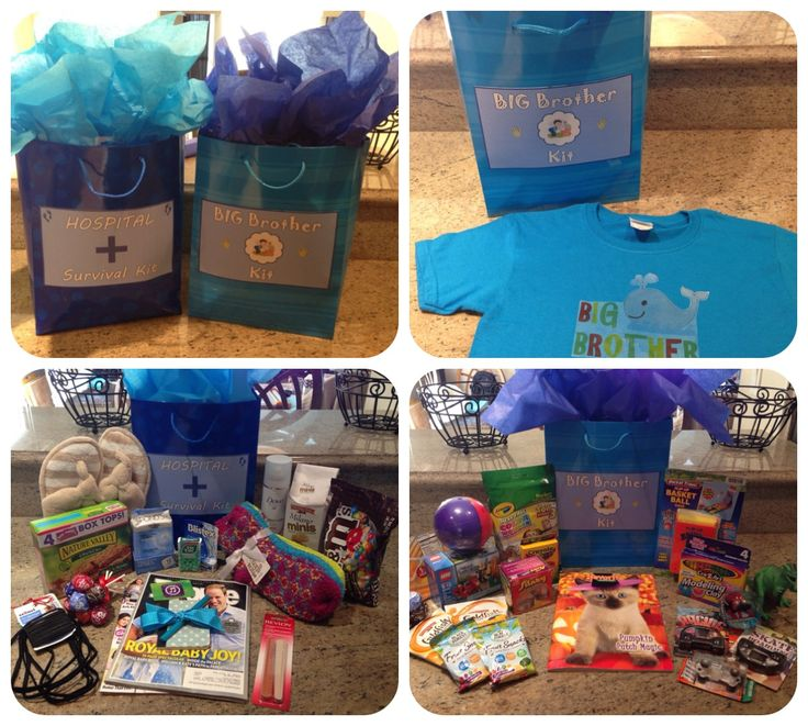 Hospital Survival Kit and Big Brother Kit for the big day! New baby, new mommy, maternity gifts.