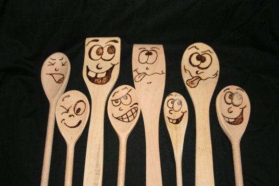 facce buffe del cucchiaio di legno di andyswoodnart su Etsy