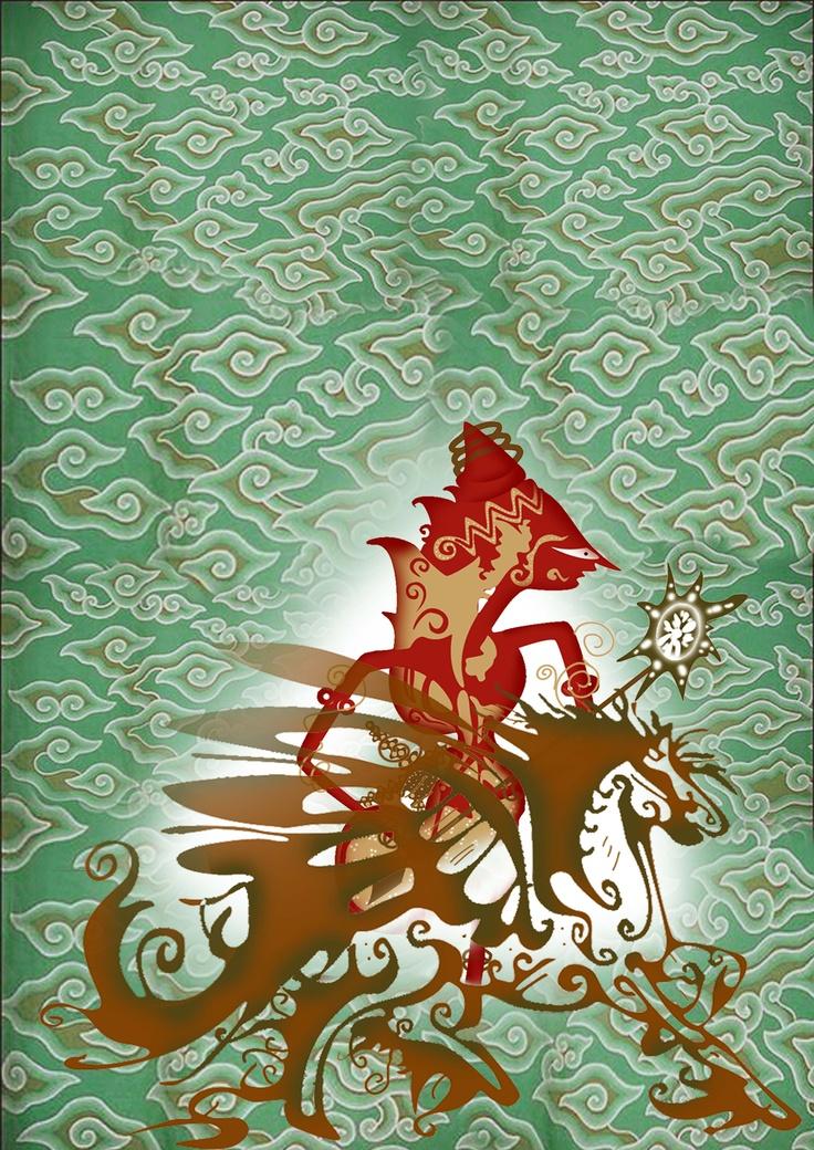 Indonesian batik depicting a wayang (puppet) #batik #wayang #Indonesia