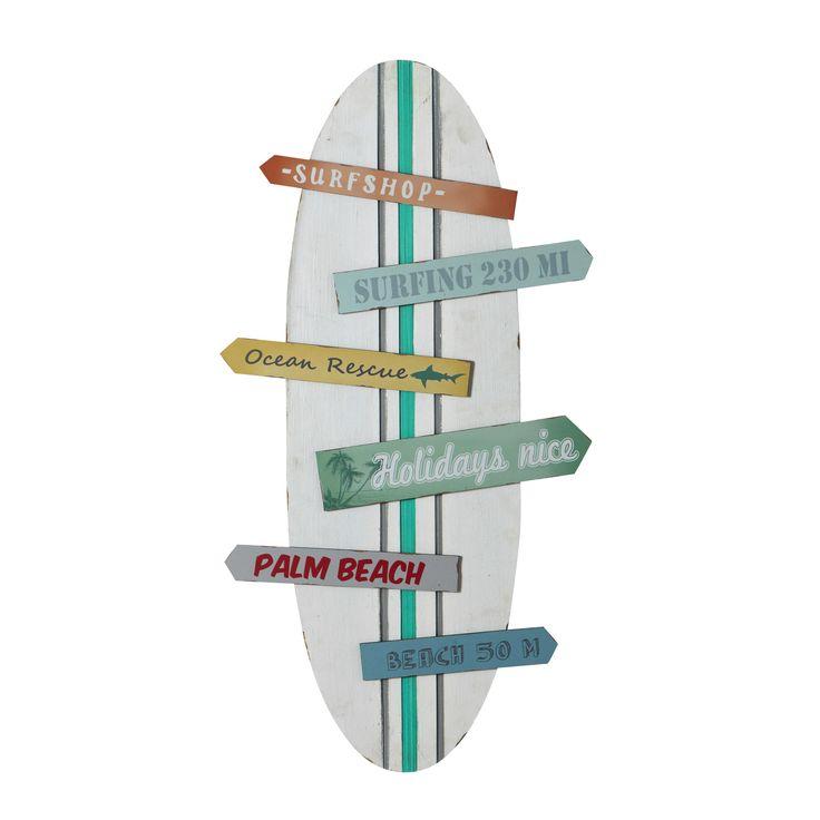Meerkleurige houten SURFING muurdecoratie met surfplank 45 x 90 cm