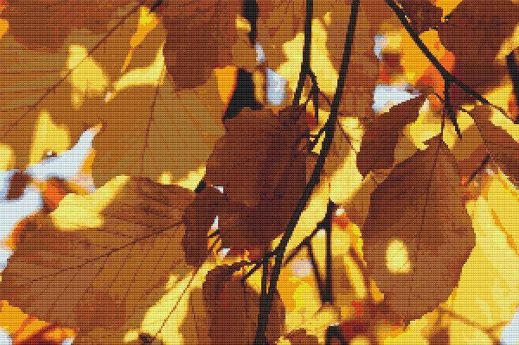 Autumn Leaves Cross Stitch Pattern