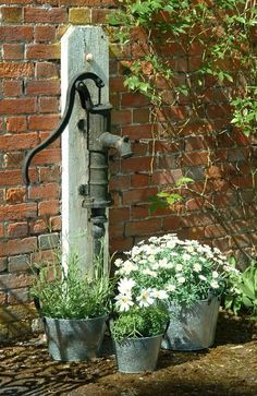 Flower Garden and vintage water pump.. What a great idea!