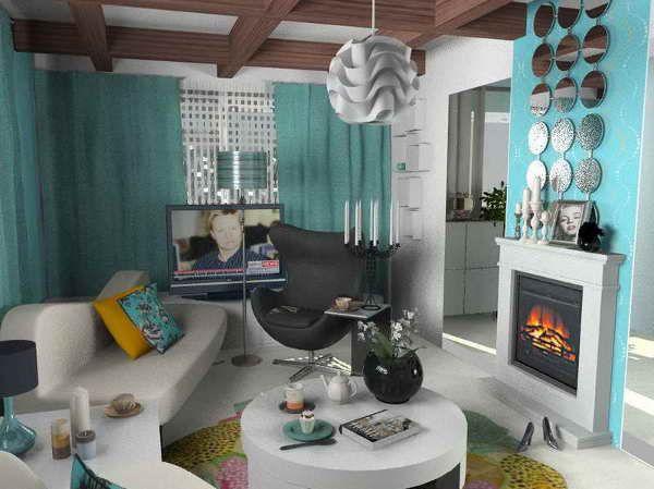 Furniture Design: Brilliant Tiffany Blue Room Decor With Fireplace .