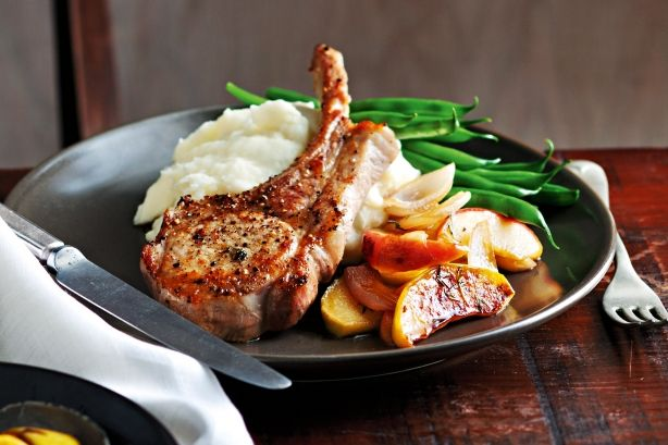 Sweeten this mid-week pork with a splash of maple syrup poured over pan-fried apples.