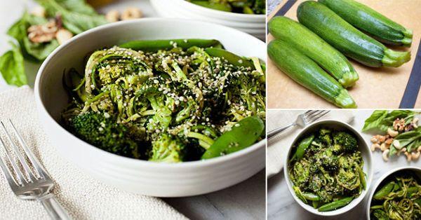 Espaguetis de zucchini con brócoli
