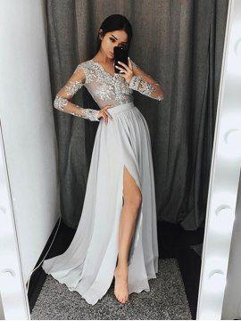 927a823c7 Vestido de Noche Gris Split-Front Lace de Manga Larga A-line Elegante