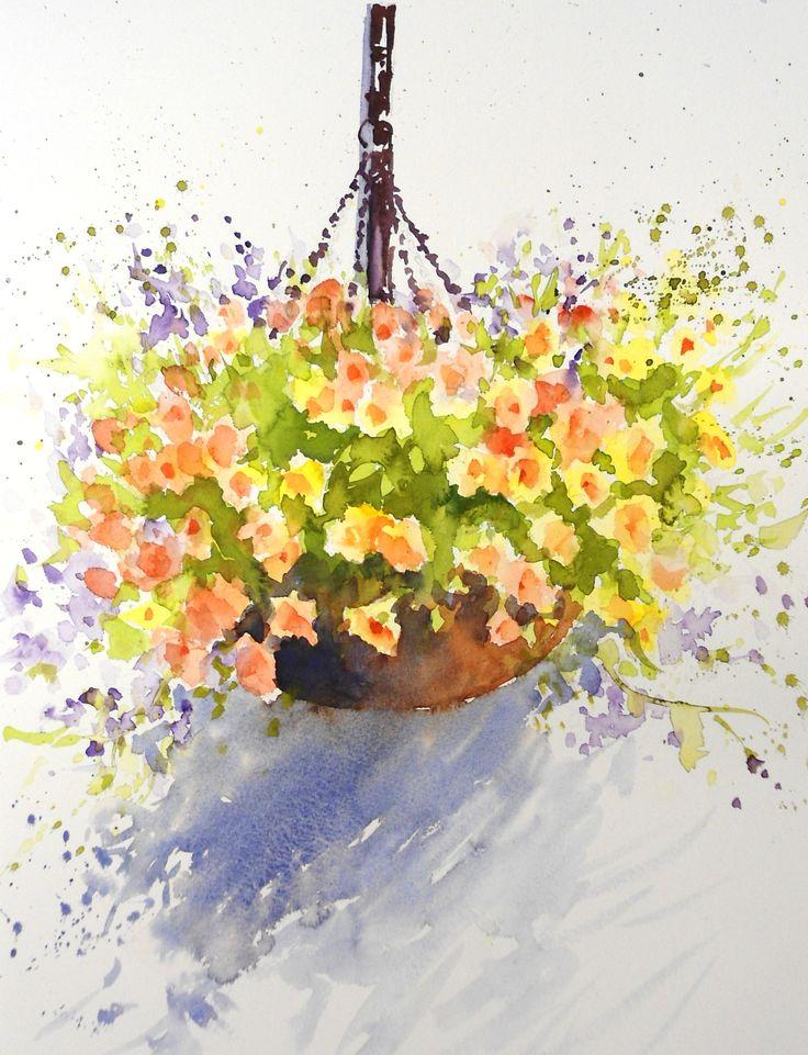 Paint Basket Art Lessons : Loose watercolour floral lesson hanging basket by joanne