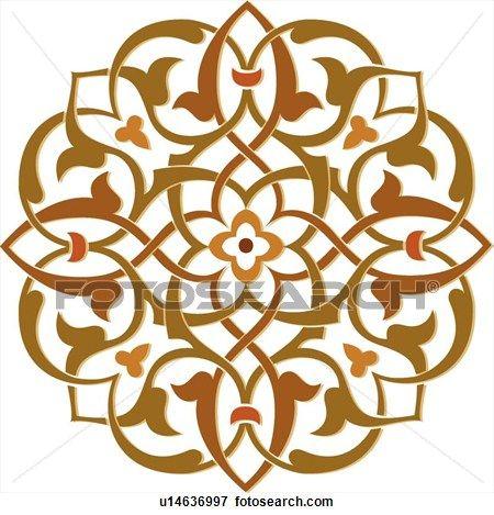 marrón, verde, y, naranja, configuración de hoja, arabesco, diseño Ver  Clip Art Gráficos en Grande