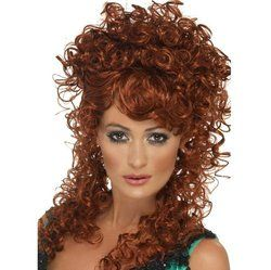 long red curly wig saloon girl costume