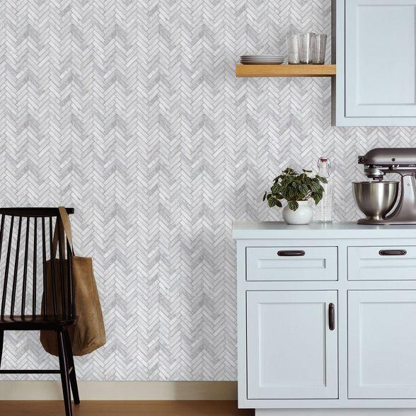 Marble Herringbone Tile Peel Stick Wallpaper Gray Threshold In 2020 Marble Herringbone Tile Herringbone Tile Peel And Stick Wallpaper