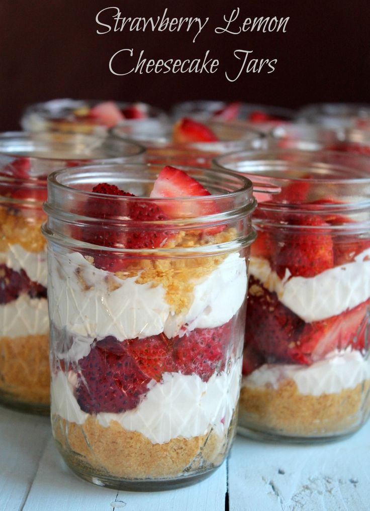 Lightened Up No-Bake Strawberry Cheesecake Jars  269 calories  and 7 weight watchers points plus