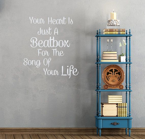Wall Decals Quotes Your Heart Is Just A Beatbox Quote Decal Bedroom Shop Store  Vinyl Sticker Home Decor aa105