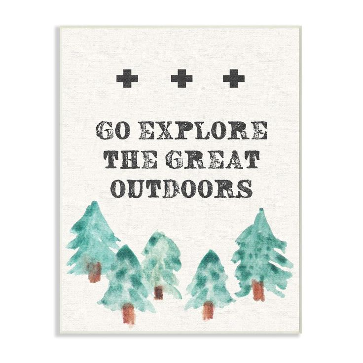 Stupell Decor Go Explore The Great Outdoors Tree Line Drawing Wall Art - SCA-127_CN_16X20