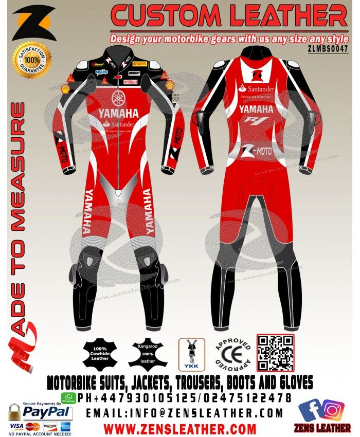 Yamaha motorbike leather suit GPmoto racing leather suit yamaha red and black racing leather gear