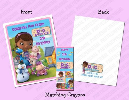 doc mcstuffins personalized coloring bookcrayon favor set