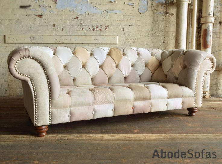 Modern British and handmade subtle cream Patchwork Chesterfield Sofa. Totally unique fabric 3 seater, shown in a range of cream and beige colours, which vary in texture, pattern and finish. | Abode Sofas