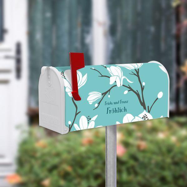 US Mailbox Standfuß Silber mit Motiv Magnolien von banjado via dawanda.com