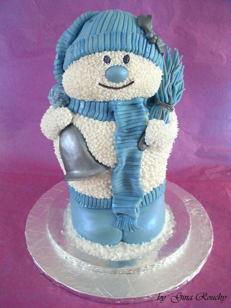 Blue Snowman Cake, how cute! - For all your cake ...