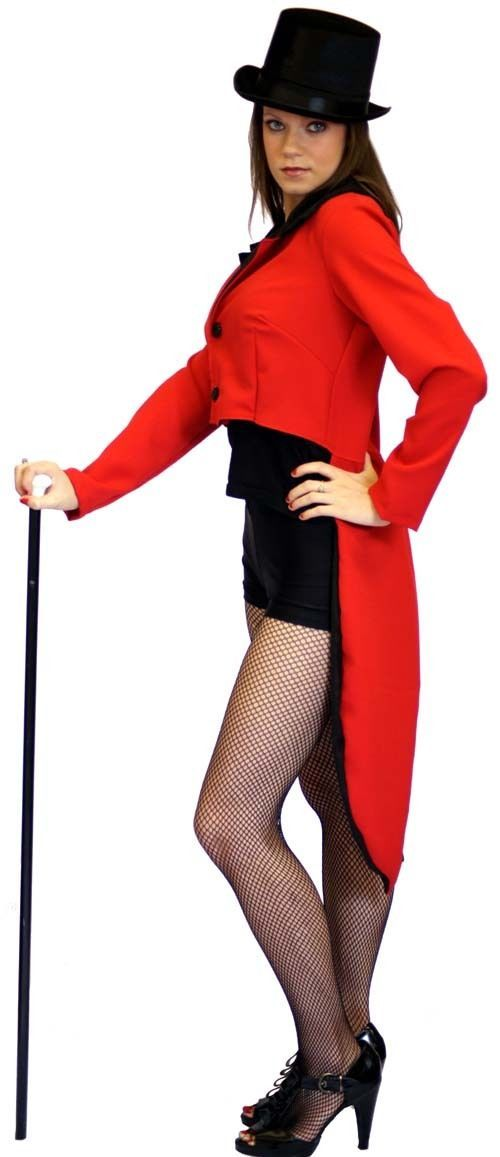 RED Black Dance Stage HEN Night Fancydress Tailcoat Sizes SML Plus | eBay
